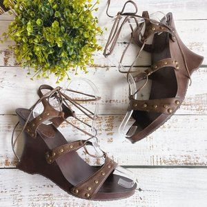 Bamboo Brown Studded Lace Up Wedge Heels, Sz 10